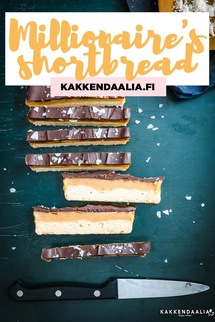 """Millionaire's shortbreadin suomenkielinen vaste voisi olla vaikka suklaa-kinuski-murokeksit, mutta ehkä on viisasta antaa asian olla. Ensivaikutelma on että """"tämähän on kuin Twix, mutta paljon parempaa!"""". Ja sormisuolan kanssa vieläkin parempaa!"""